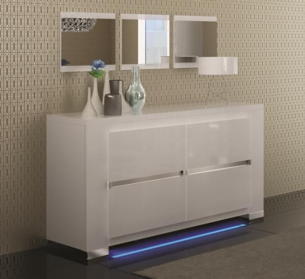 Elegance, 2 Door White High Gloss Sideboard, Opt. LED Lighting   See More