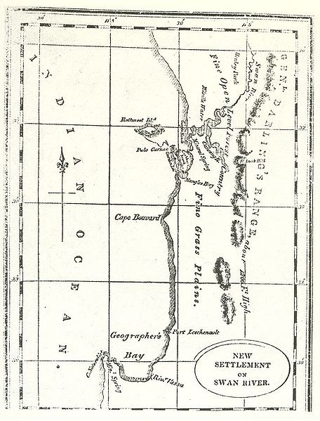Early map of Swan River Colony, Western Australia 1830s.