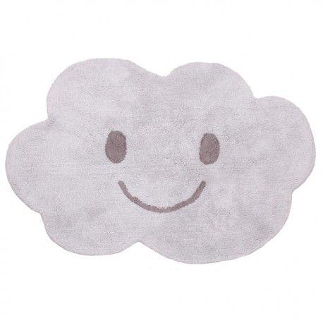 Tapis enfant lavable nuage gris Nimbus - Nattiot