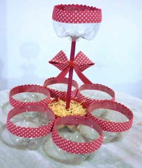 Use the ends of a 2 litre plastic bottles to make a snack basket....