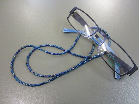 Beaded Spectacle Chain: Shiny Peacock Blue by Bojanglies on Etsy