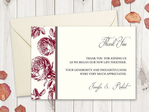 """DIY Thank You Card Printable Template """"Classic Roses"""", Burgundy Red, by ShishkoTemplates on Etsy"""