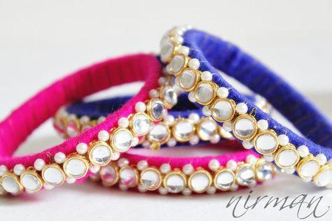 Indian wedding bangle Set of 2 Pair of Red / Green / Blue / Pink Hand knit bangle bracelet silver Indian bells wrist cuff bracelet BA00005/6