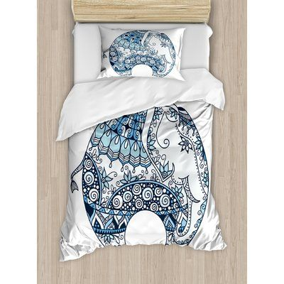 Ambesonne Elephant Mandala Indian Belief Guardian Spirit of Temples Animal Mehndi Image Duvet Set Size: