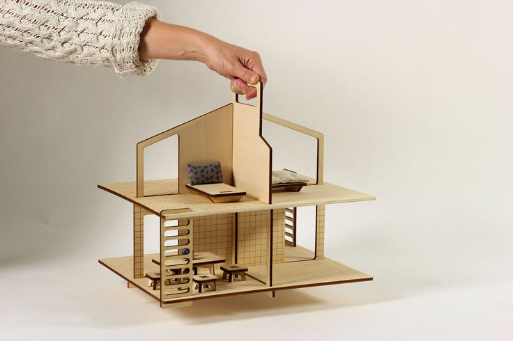 CABIN doll house design by MILKYWOOD laser cut in plywood with TheFabFamily