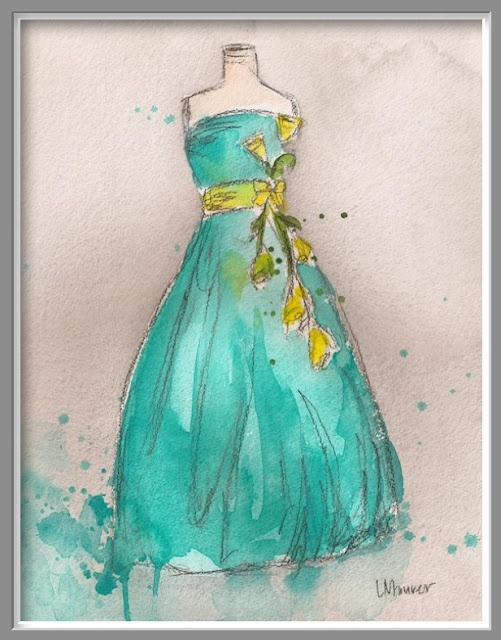 vintage gown watercolor art: Aqua Dress, Watercolors, Dresses, Water Color, Teal Dress, Painting, Watercolor Dress, Fashion Illustrations