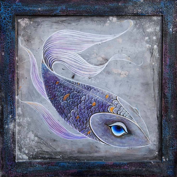 Ice Lake Fish / Original Lacquer Painting by Xenia Hahonina / 22cm x 22cm #fish…