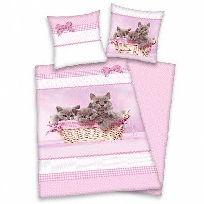 Cicusok, rózsaszín ágynemű huzat garnitúra