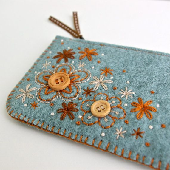 Sweet Blossoms: Wool Felt Coin Purse or iPhone Cozy (Hand Embroidered & Made To Order). $28.00, via Etsy.