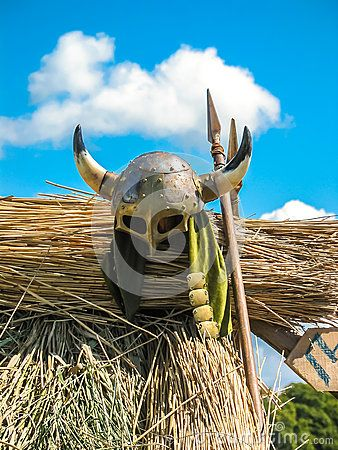 Historic Viking's helmet and spears