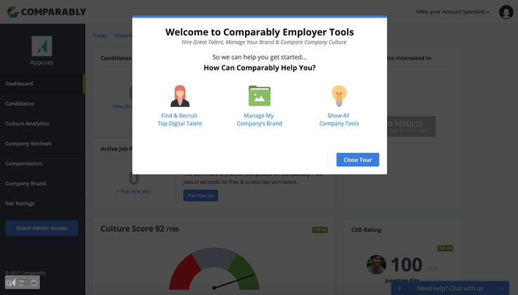 Comparably's product tour