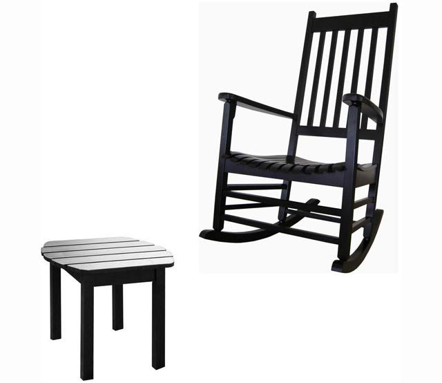 Antique Acacia Black Rocker - This classic style rocking chair is made from solid hardwood with a contoured seat and transitional styling. The hardwood porch rocker is designed for a covered porch or covered outside area. If home delivery is chosen, this item will ship boxed-some assembly required. www.millstores.com