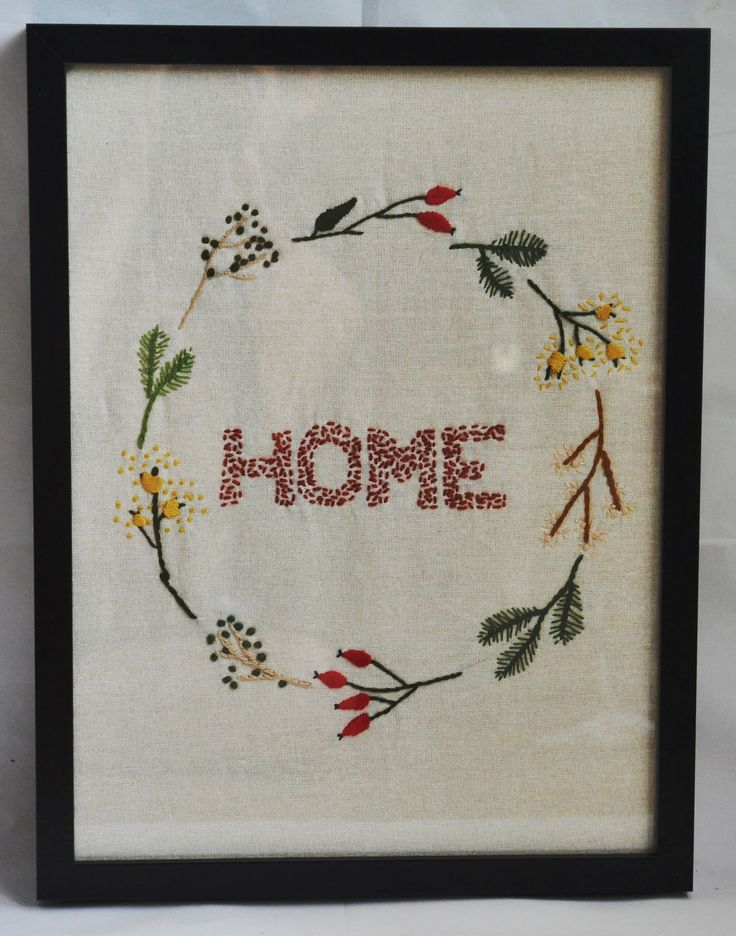 """Embroided """"Home"""" in floral  wreath"""
