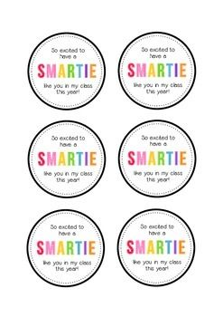 'So excited to have a smartie like you in my class this year!'  A tag to add to a packet of Smarties for a first day of school student gift!