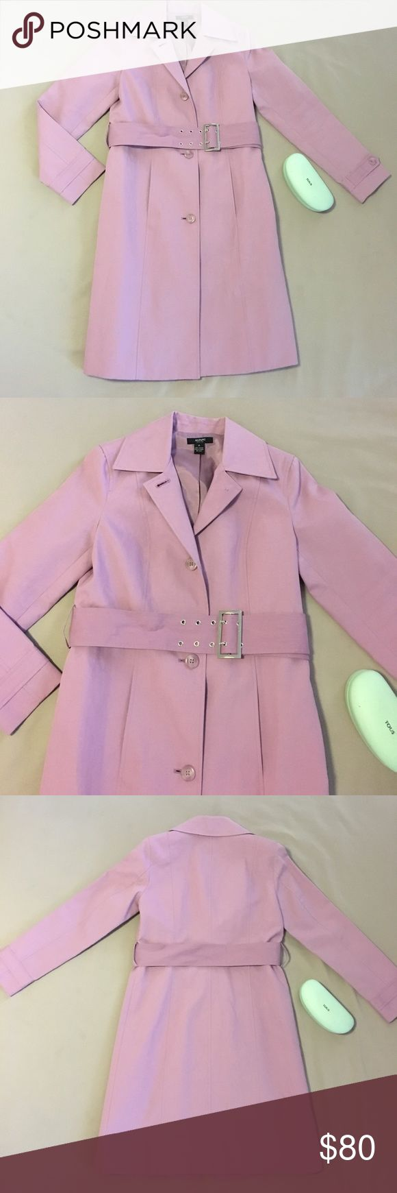 """Alfani Trench Coat Simply Stunning Alfani Petite trench coat. 100% cotton, fully lined. Chrome buckle. EUC. Pics are true to color. 36"""" long from shoulder-top and 18"""" across armpits. 👛🌂🎀👛🌂 Alfani Jackets & Coats Trench Coats"""
