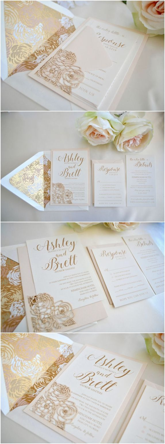 Blush and Gold Wedding Invitation Floral Laser Cut Romance Rose