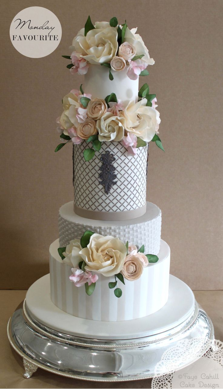 Fondant Cake With Gumpaste Flowers Stripes And Weave A Faye Cahill Design