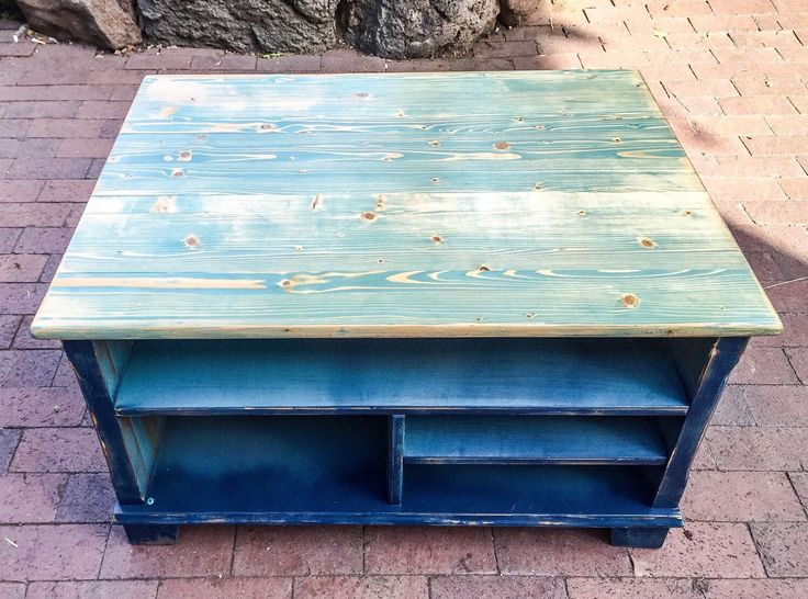 Sold Blue Coffee Table Shabby Chic Beach House French Country Large Solid Pine Coffee Table W Blue Hues Inlayed Into The Wood Grain