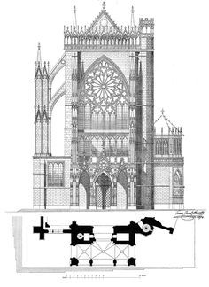 Elevation of the Cathedral / Metz, France