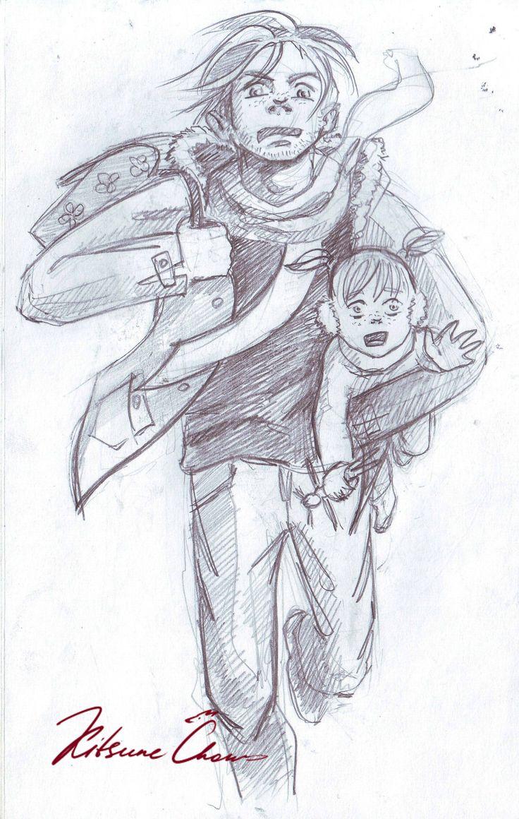 #графика #карандаш #набросок #скетч #эскиз #папа #дочь #эмоции #утро #бег #graphics #pencil #sketch #dad #daughter #emotions #morning #run