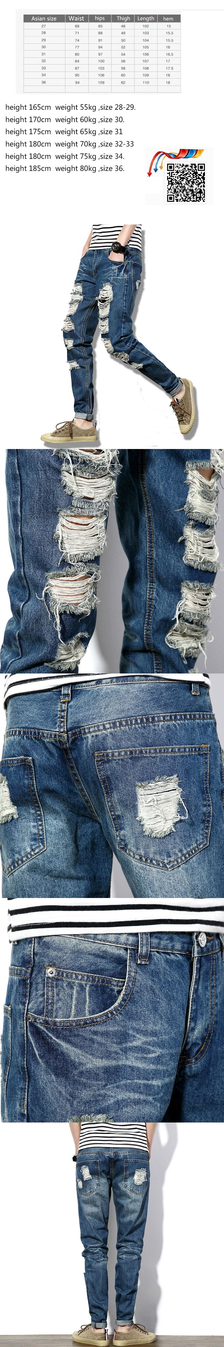 2017 Fashion Hi-Street Mens Destroyed Jeans With Zippers Ripped Hip Hop Jeans With Holes On the Knee Distressed Denim Joggers