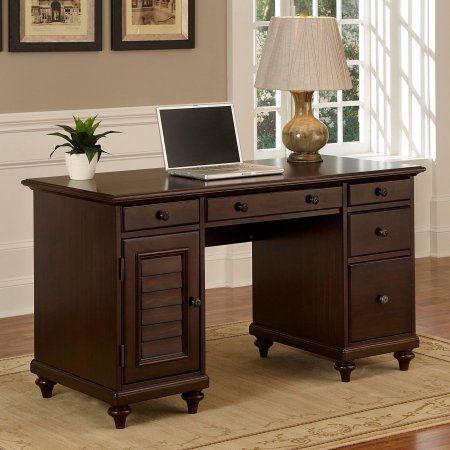 Home Styles Bermuda Pedestal Desk, Brown