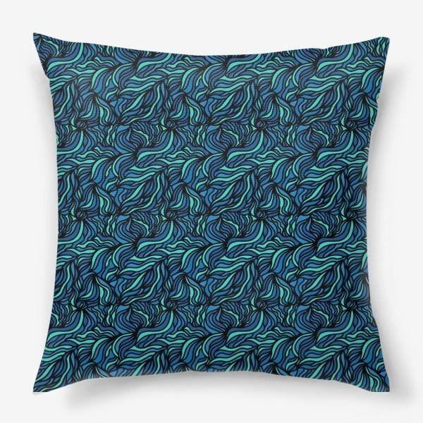 Подушка «Морские волны, абстракция»