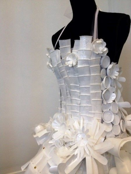 Planning a wedding? Why not make your own dress from recycled #packaging #cups PD