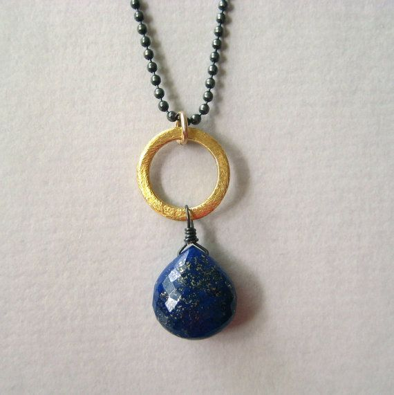 Faceted Lapis Lazuli Briolette and Oxidized Sterling Necklace from Julie Garland.