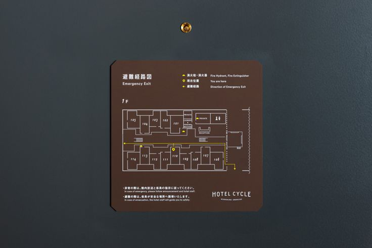 Signage designed by UMA for U2's Onomichi based Hotel Cycle