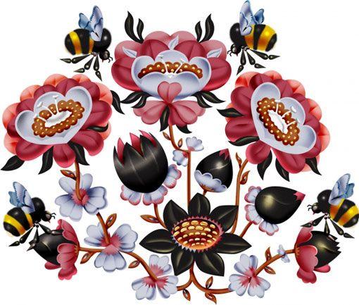 klaus haapaniemi illustration - with bumblebees!