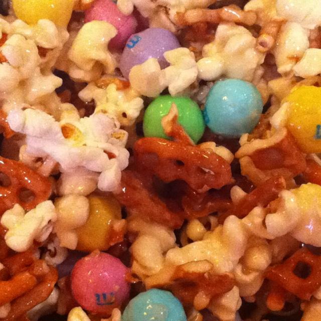 Pintrest try, # 1! Salted Carmel Easter popcorn! YUMMY:) smells delish.