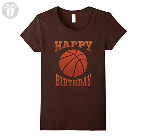 Womens Happy Birthday basketball theme party tee shirt youth clothe XL Brown - Birthday shirts (*Amazon Partner-Link)