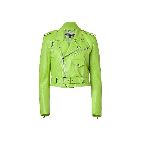 Ralph Lauren Collection - Lime Green Glove Leather Jacket ❤ liked on Polyvore featuring outerwear, jackets, leather jackets, green moto jacket, cropped moto jacket, moto jacket and leather motorcycle jacket