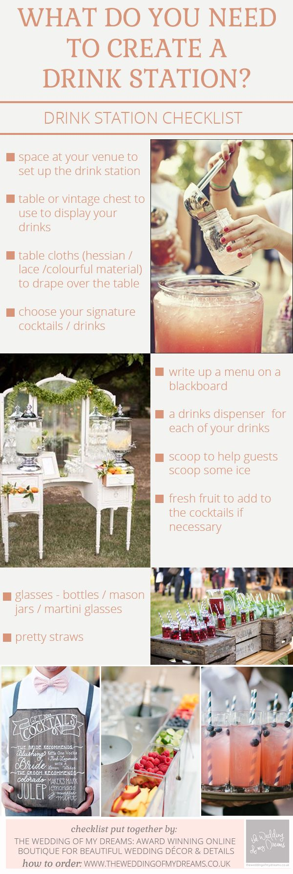 What You Need To Create Drink Stations For Weddings – Checklist / http://www.deerpearlflowers.com/rustic-beach-outdoor-wedding-checklist/