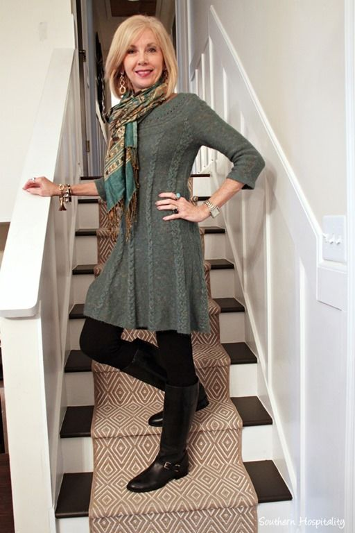 Sweater dresses and boots: Fashion over 50. Beautifully shaped knitted top...and sooooo cosy. Want this too!