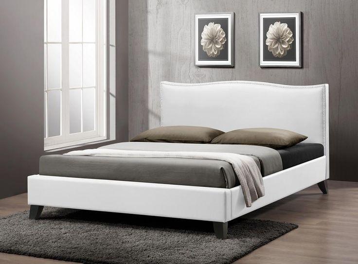 baxton studio battersby white bed w upholstered headboard full size - Full Size White Bed Frame