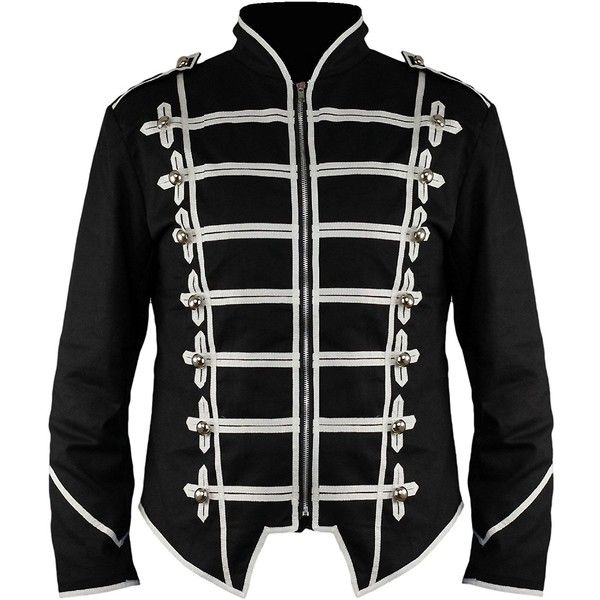 New Steampunk Emo Punk Goth MCR Military Drummer Parade Jacket ($65) ❤ liked on Polyvore featuring outerwear, jackets, cotton military jacket, military inspired jacket, steampunk military jacket, punk rock jacket and gothic military jacket