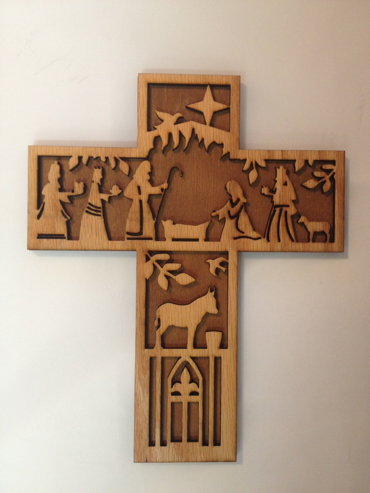 "Nativity Cross. Made from Birch and measures 11"" x 8"". 29.99 www.fithianlaserphotographics.com"