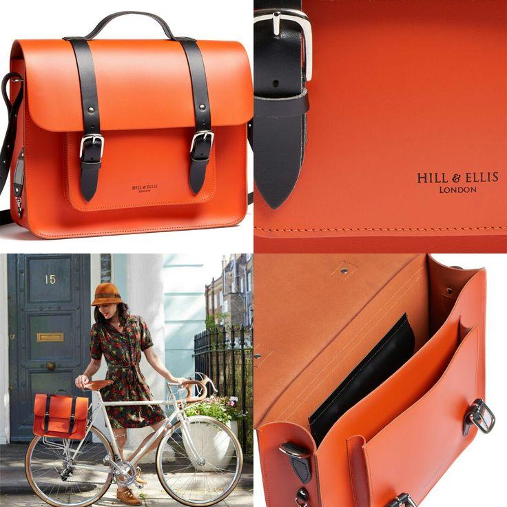 De #hillandellis #fietstas #jasper in oranje leer met zwart lederen riemen.