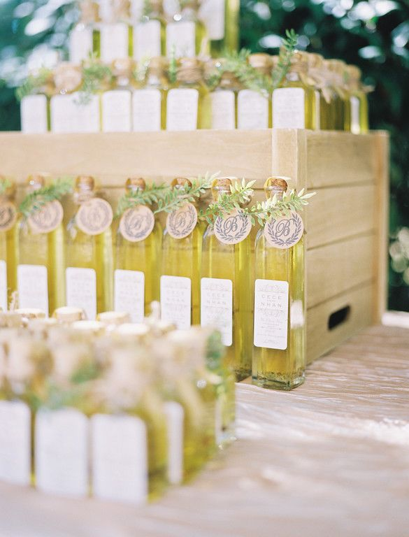 "Olive oil ""olive you"" wedding favors with customized cute favor tags"