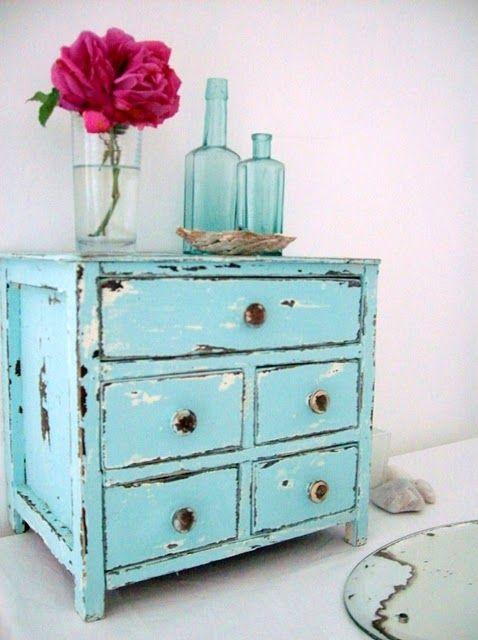 Turquoise Distressed Jewellery Box.