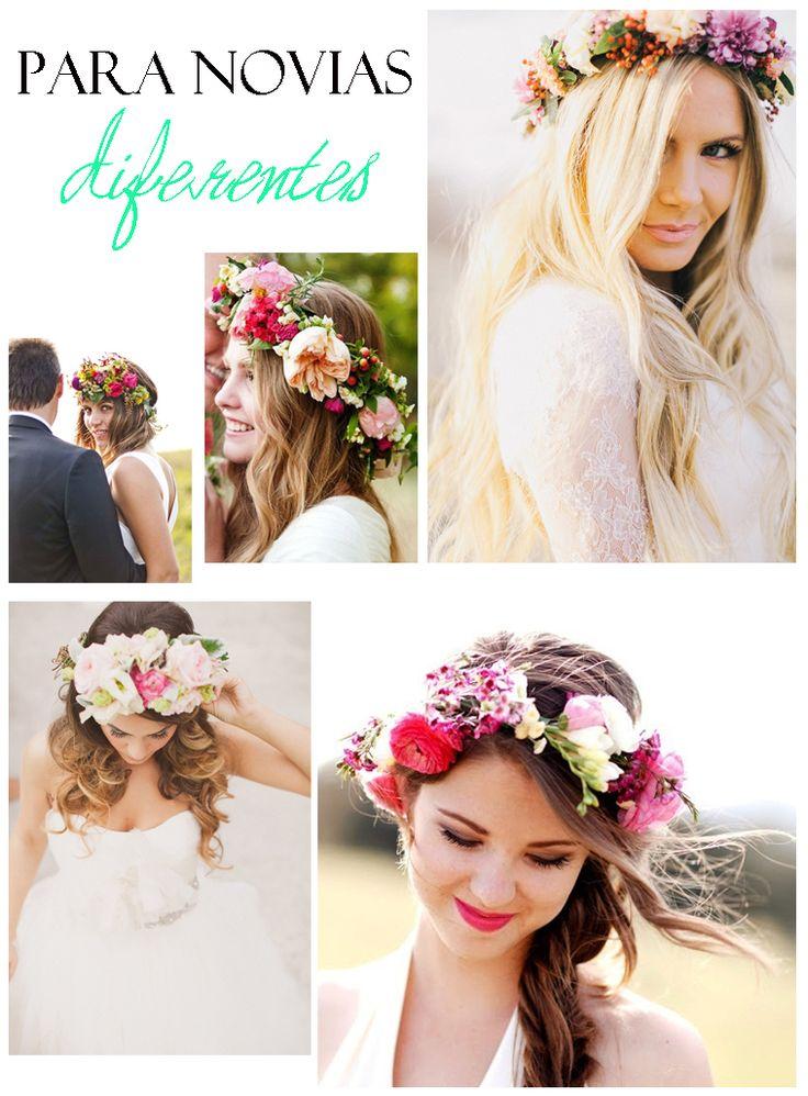Coronas de flores para el pelo. Románticas y divertidas. Ideales para novias diferentes. http://cocktaildemariposas.com/2013/06/06/peinados-primavera-verano-2013-corona-de-flores/