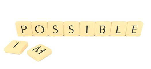 Word pieces: impossible or possible, 3d illustration