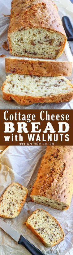 Soft, moist bread with crunchy walnut pieces. This cottage cheese bread with walnuts is perfect for breakfast or as an afternoon snack. Easy homemade quick bread recipe. #cottagecheese #bread #loaf #recipes #baking #walnuts #quickbread via @happyfoodstube