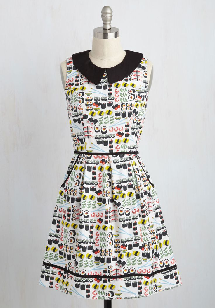All Eyes on Unique Dress in Sushi - Multi, White, Novelty Print, Print, Pockets, Casual, Food, A-line, Sleeveless, Summer, Woven, Best,…(affiliate)