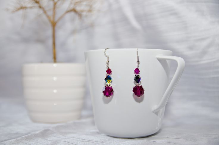 "Swarovski earrings ""Magenta"""