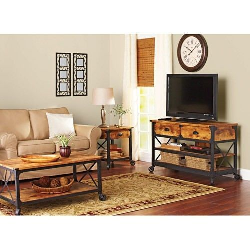 Vintage Rustic Furniture TV Stand Living Room Coffee Side