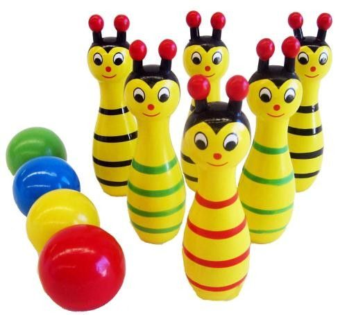 Wooden toys for kids are a classic playroom favourite, especially when they're as bright and cheery as these Bowling Bees skittle game. Sweetly designed and made from painted wood, this skittle game will lead to excited playtime for kids, aged 3 and older.