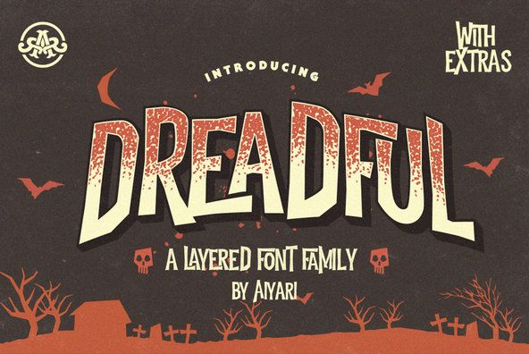 Dreadful - Dreadful is a layered style font design that is inspired by classic horror movies and vintage co...